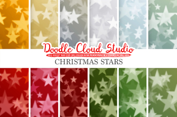 Christmas Stars Bokeh digital paper, Winter Holiday Bokeh Overlay