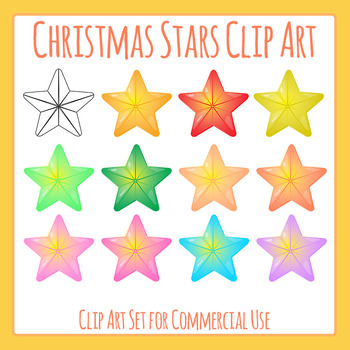Christmas Stars Clip Art Set for Commercial Use