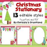 Free Christmas Stationary:  13 editable papers