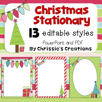 Free Christmas Stationary:  13 editable papers