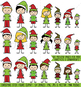 Christmas Stick Figure Clipart, Christmas Stick Figure Family Clipart
