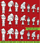 Christmas Stick Figure Digital Stamps, Christmas Stick Figure Clipart