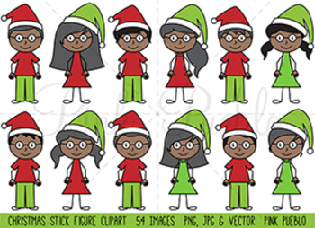 Christmas Stick Figure Family Clipart, Christmas Stick Figure Clipart