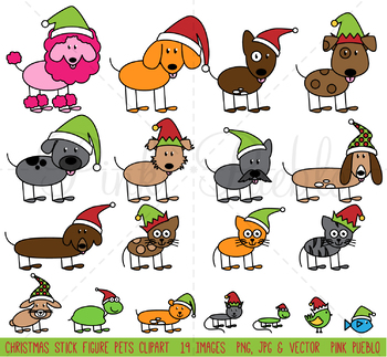 Christmas Stick Figure Pets Clipart Clip Art Vectors, Christmas Stick Family