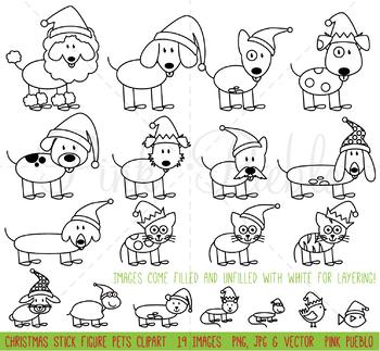 Christmas Stick Figure Pets Clipart Clip Art Vectors, Christmas Stick Family