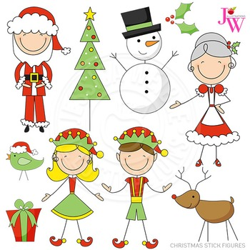 Christmas Stick Figures Cute Digital Clipart, Christmas Graphics