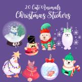 Christmas Stickers Cute Animal Theme