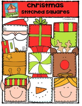 Christmas Stitched Squares {P4 Clips Trioriginals Digital Clip Art}