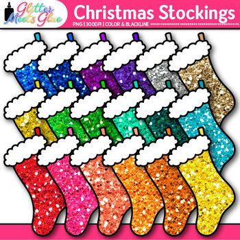 Christmas Stocking Clip Art {Glitter Holiday Decorations f