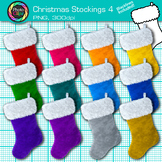 Christmas Stocking Clip Art {Rainbow Decoration Photo Graphics for Resources} 4