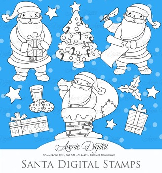 Christmas Santa Digital Stamps Scrapbook printable holiday clip art set graphics