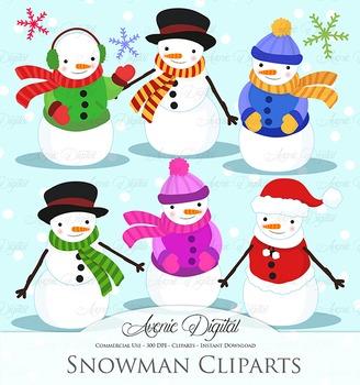 Christmas Snowman - vector clip art - clipart