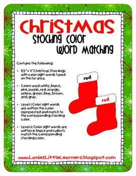 Christmas Stocking Color Word Matching Game - FREEBIE!