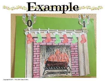 Christmas Stocking Fraction Number Line Craftivity