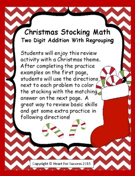 Christmas Stocking Math Two Digit Addition With Regrouping