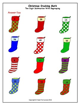 Christmas Stocking Math Two Digit Subtraction With Regrouping