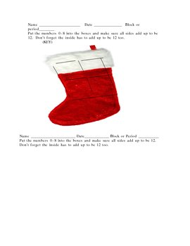 Christmas Stocking Math Warm up numbers deductive thinking