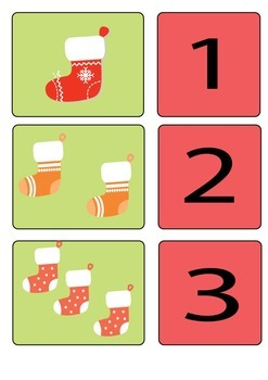 Christmas Stocking Number Match Cards 1-9