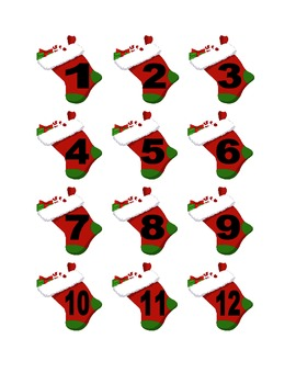 Christmas Stocking Numbers for Calendar or Counting Activity