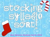 Christmas Stocking Syllable Sorting Activity!