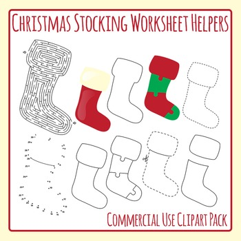 Christmas Stocking Worksheet Helpers Clip Art Pack for Commercial Use