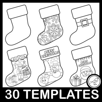 Christmas Stocking - black and white templates - 15 designs