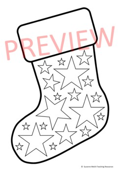 Christmas Stocking Black And White Templates 15 Designs Tpt