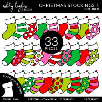 Christmas Stockings 1 Clipart {A Hughes Design}