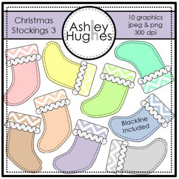 Christmas Stockings 3 Clipart {A Hughes Design}