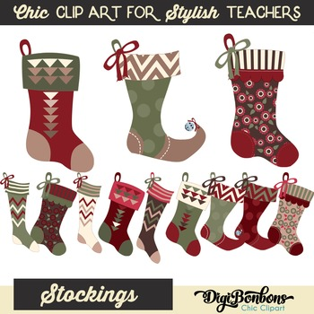 Christmas Stockings Clipart Set