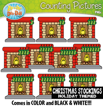 Christmas Stockings Counting Pictures Clipart {Zip-A-Dee-Doo-Dah Designs}
