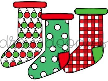 Christmas Stockings Digital Clip Art Set