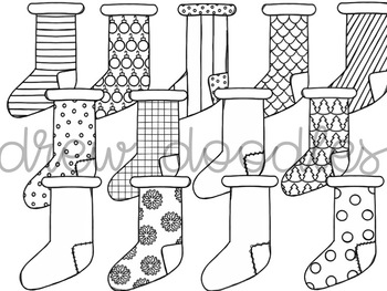 Christmas Stockings Digital Clip Art Set- Black Line Version