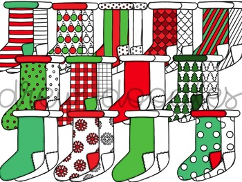 Christmas Stockings Digital Clip Art Set- Color and Black Line COMBO