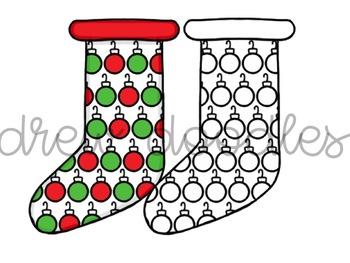 Christmas Stockings Digital Clip Art Set- Color and Black Line COMBO