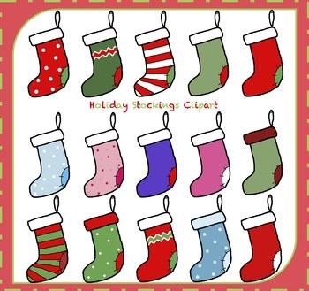 Christmas Stockings / Holiday Stockings {Christmas Clipart}