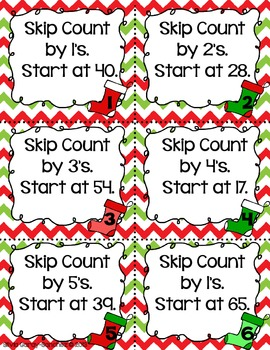 Christmas Stockings Skip Counting Task Cards