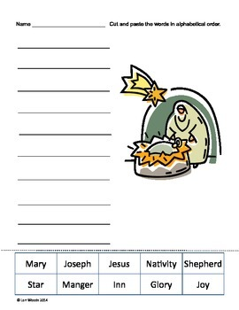 Christmas Story Alphabetical Order - Cut and Paste
