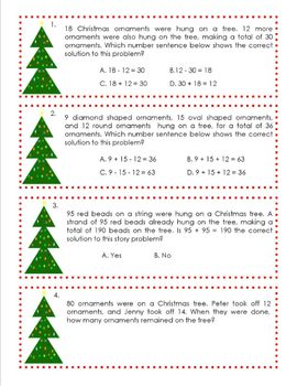 Christmas Story Problem Task Card Set