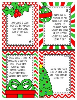 Christmas Story Problems Task Cards--FREEBIE
