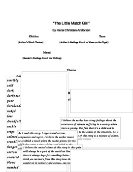 The Little Match Girl: Christmas Story Response Writing