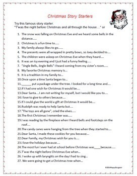 Christmas Writing Prompts.Christmas Story Starters And Writing Prompts