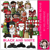 Christmas String Beans clip art - BLACK AND WHITE- by Melonheadz