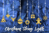 Christmas String Lights Clipart, Gold Bunting Lights, Fairy Christmas Decoration
