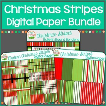 Christmas Stripes Digital Paper Bundle