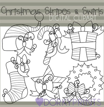 Christmas Stripes and Swirls Blackline Clip Art