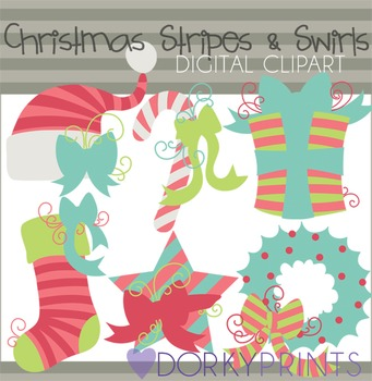 Christmas Stripes and Swirls Clip Art in Pink and Blue