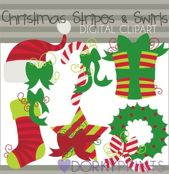 Christmas Stripes and Swirls Clip Art in Red and Green