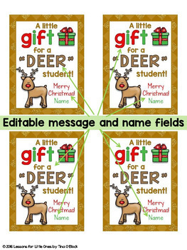 Christmas Student Gift Tags 12 Different EDITABLE Holiday ...