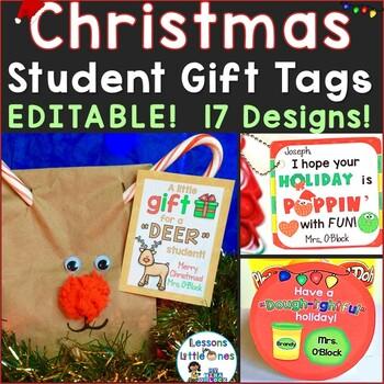 Christmas Tags.Christmas Student Gift Tags 12 Different Editable Holiday Designs